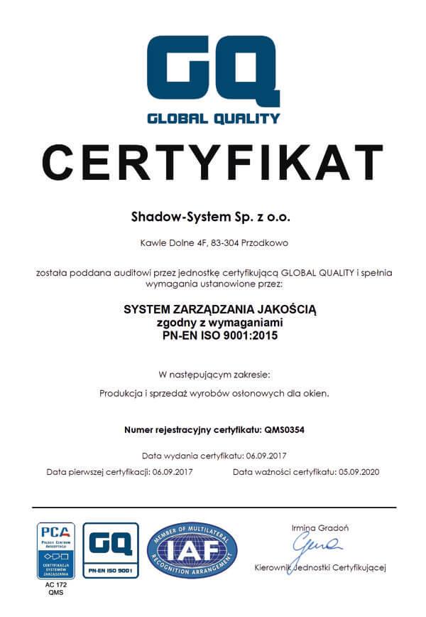 gq global quality certyfikat