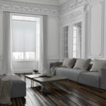 białe plisy w salonie retro
